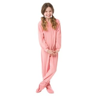 Big Feet Pjs Big Girls Kids Pink Fleece Footed Pajamas Sleeper Footie Pajamas|https://ak1.ostkcdn.com/images/products/17854045/P24042038.jpg?impolicy=medium