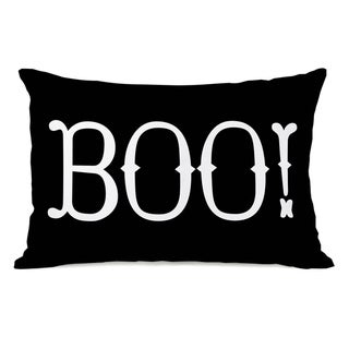 Boo! - Black White Throw Pillow by OBC