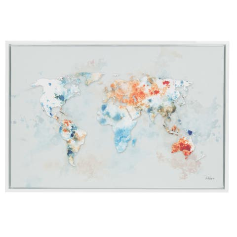 Sylvie World Map 33x23 White Framed Canvas Wall Art