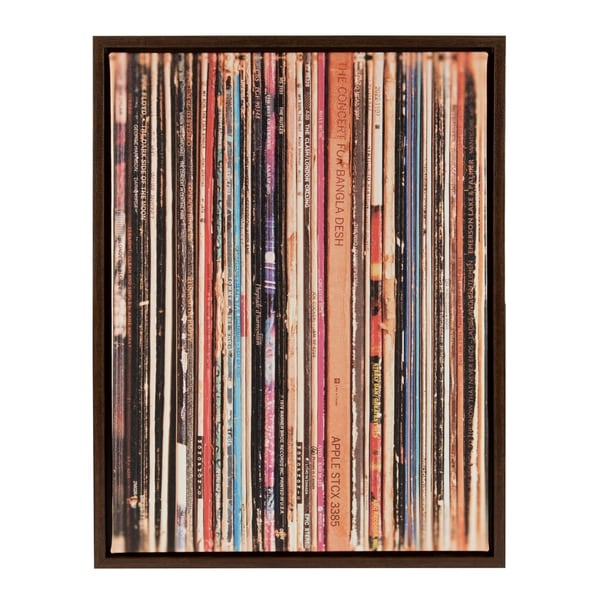 Shop Sylvie Record Album Sleeves 18x24 Walnut Brown Framed Canvas ...