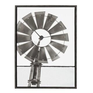 Sylvie Rustic Windmill 23x33 Dark Gray Framed Canvas Wall Art