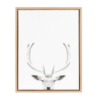 Sylvie Deer Portrait 18x24 Natural Framed Canvas Wall Art