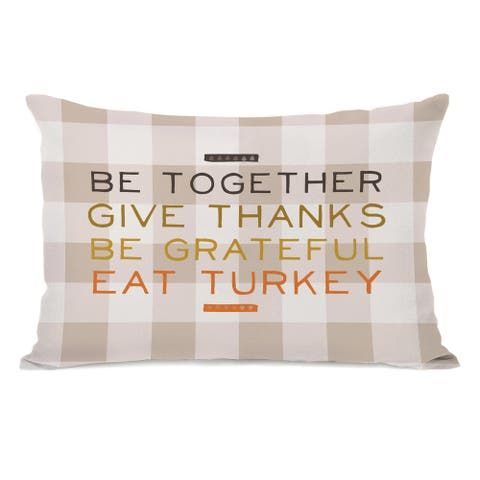 Eat Turkey Plaid - Multi Throw Pillow by OBC
