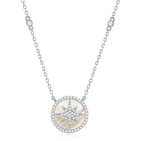 "La Preciosa Sterling Silver and Rose Gold Mother of Pearl CZ Studded Shooting Star 16+2"" Necklace"