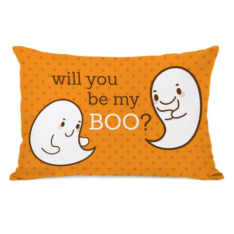 Be My Boo - Orange White 16 or 18 inch Throw Pillow by OBC