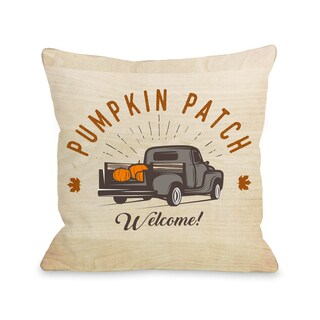 Pumpkin Patch Truck - Tan Multi 16 or 18 inch Throw Pillow by OBC