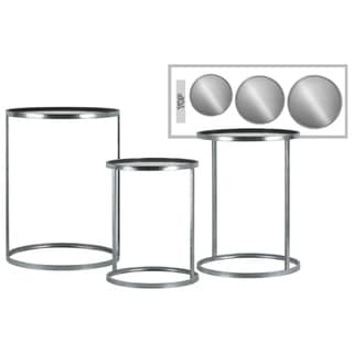 Metal Round Silver-finished End Table with Mirror Top