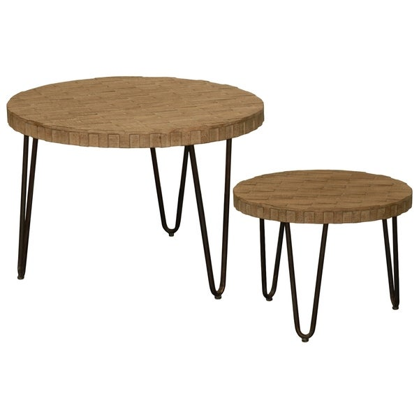 Urban Trends Collection UTC92140 Natural Wood Finish Brown Metal Tables (Set of 2)