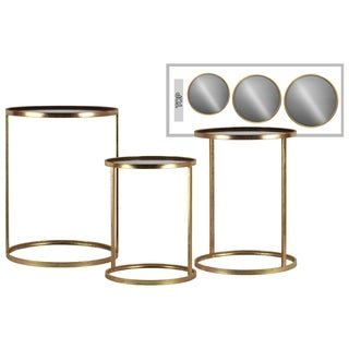Metal Round Gold-finished End Table with Mirror Top