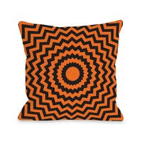 Halloween Circular Chevrons  16 or 18 inch Throw Pillow by OBC