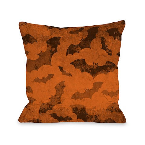 Flying Bats 2- Orange Black 16 or 18 inch Throw Pillow by OBC
