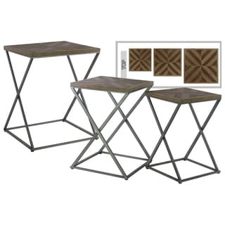 Urban Trends Collection UTC92134 Brown Wood and Metal Nesting End Table