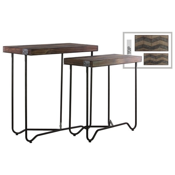 Urban Trends Collection Black Metal Frame Two Tone Wood Nesting Table (Set of 2)