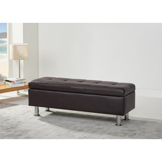 Frankfort Dark Brown PU Leather Storage Ottoman