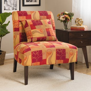 Accent Chair Geometric Red Part 86