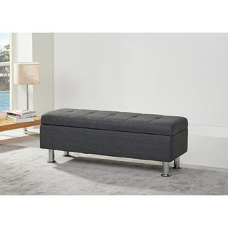 Frankfort Tufted Gray Linen-like Storage Ottoman