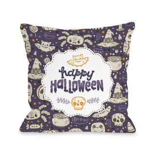 Halloween Friends - Purple Multi 16 or 18 inch Throw Pillow by OBC