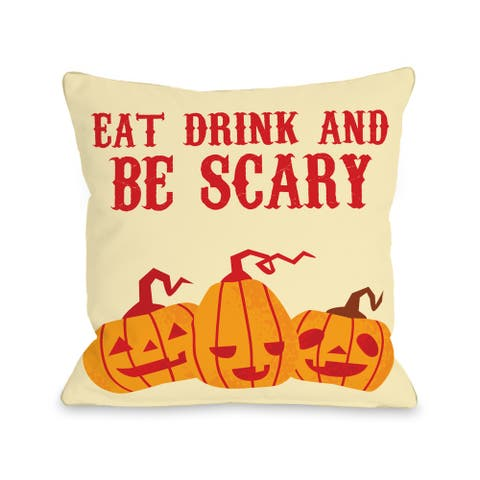 Eat, Drink, Be Scary Pumpkins - Cream Multi 16 or 18 inch Throw Pillow by OBC