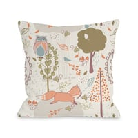 Autumn Critters - Multi  16 or 18 inch Throw Pillow by OBC