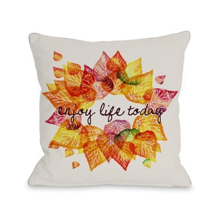 Enjoy Leaves - White Multi  16 or 18 inch Throw Pillow by OBC