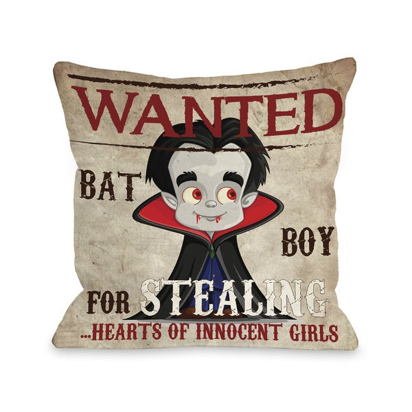 Wanted Bat Boy - Multi 16 or 18 inch Throw Pillow by OBC - Black/Red. Opens flyout.