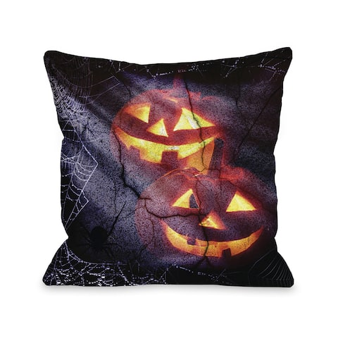 Pumpkins and Spiderwebs - Black Orange 16 or 18 inch Throw Pillow by OBC