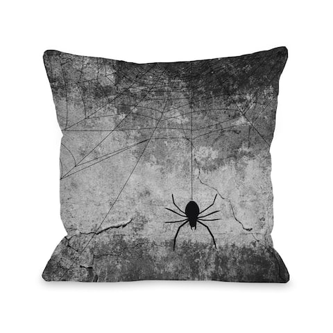 Hanging Spider - Gray Black 16 or 18 inch Throw Pillow by OBC