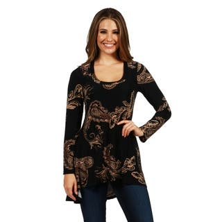 24/7 Comfort Apparel Angelina Tunic Top|https://ak1.ostkcdn.com/images/products/17864254/P24051179.jpg?impolicy=medium