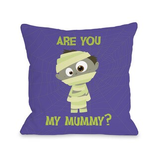 Are You My Mummy - Purple Green 16 or 18 inch Throw Pillow by OBC