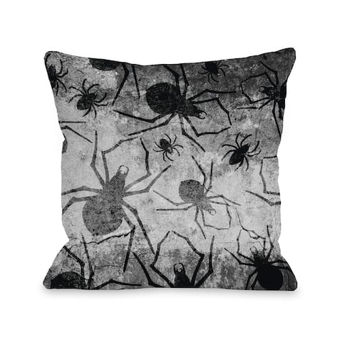 All Over Spiders - Gray Black 16 or 18 inch Throw Pillow by OBC