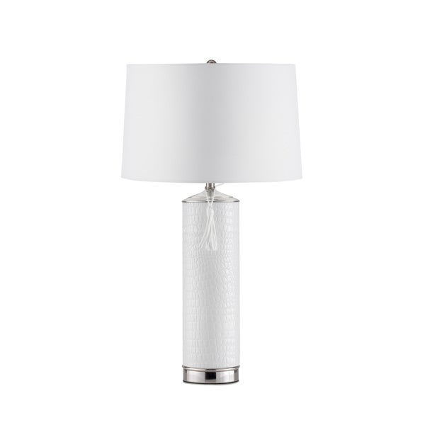 Nova Lighting Croc Chrome/White Linen Shade Table Lamp
