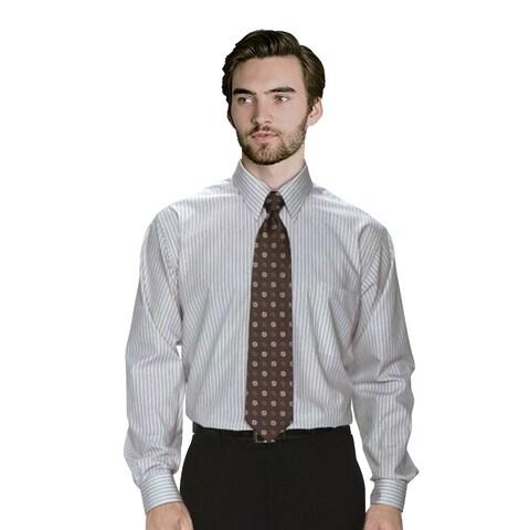 Twin Hill Mens Shirt Grey Cotton/Poly Stripe