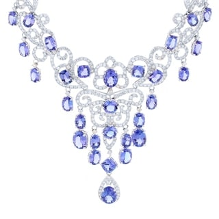 Auriya 14k White Gold 40 3/4ct Tanzanite and 11ct TDW Diamond Necklace - Blue