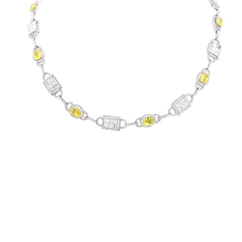 Auriya 18k White Gold 9 1/6ct Yellow Sapphire and 10ct TDW Diamond Necklace