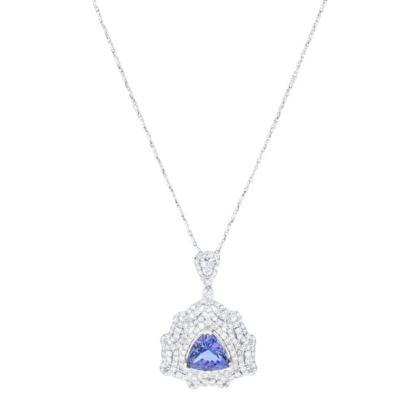 Auriya 14k White Gold 5ct Tanzanite and 2 1/3ct TDW Diamond Necklace - Blue