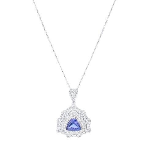 Auriya 14k White Gold 5ct Tanzanite and 2 1/3ct TDW Diamond Necklace - Blue