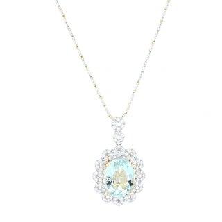 Auriya 14k Yellow Gold 19 3/4ct Aquamarine and 3ct TDW Diamond Necklace - Blue