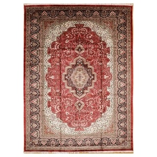 Persian Hand Knotted rug 12' 5 X  9' 2 Red/Navy 100% Art Silk
