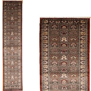 Persian Hand Knotted rug 12' 2 X  2' 7 Multicolor 100% Art Silk