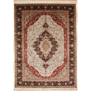 Persian Hand Knotted rug 12' 0 X 8'11 Ivory/Navy 100% Art Silk