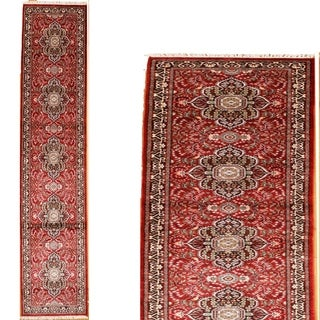 Persian Hand Knotted rug 12' 2 X 2' 7 Red/Black 100% Art Silk