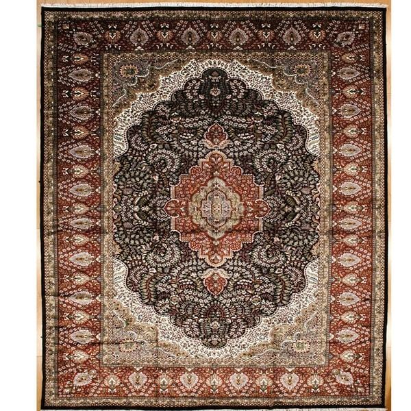 Persian Hand Knotted rug 14' 4 X 9'11 Black-Red 100% Art Silk