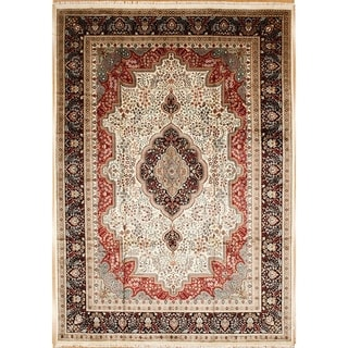 Persian Hand Knotted rug 12' 7 X  8'11 Ivory/Navy 100% Art Silk