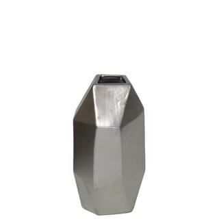 Urban Trends Ceramic Short Irregular Vase with Patterned Design Body in Matte Finish - Silver - N/A