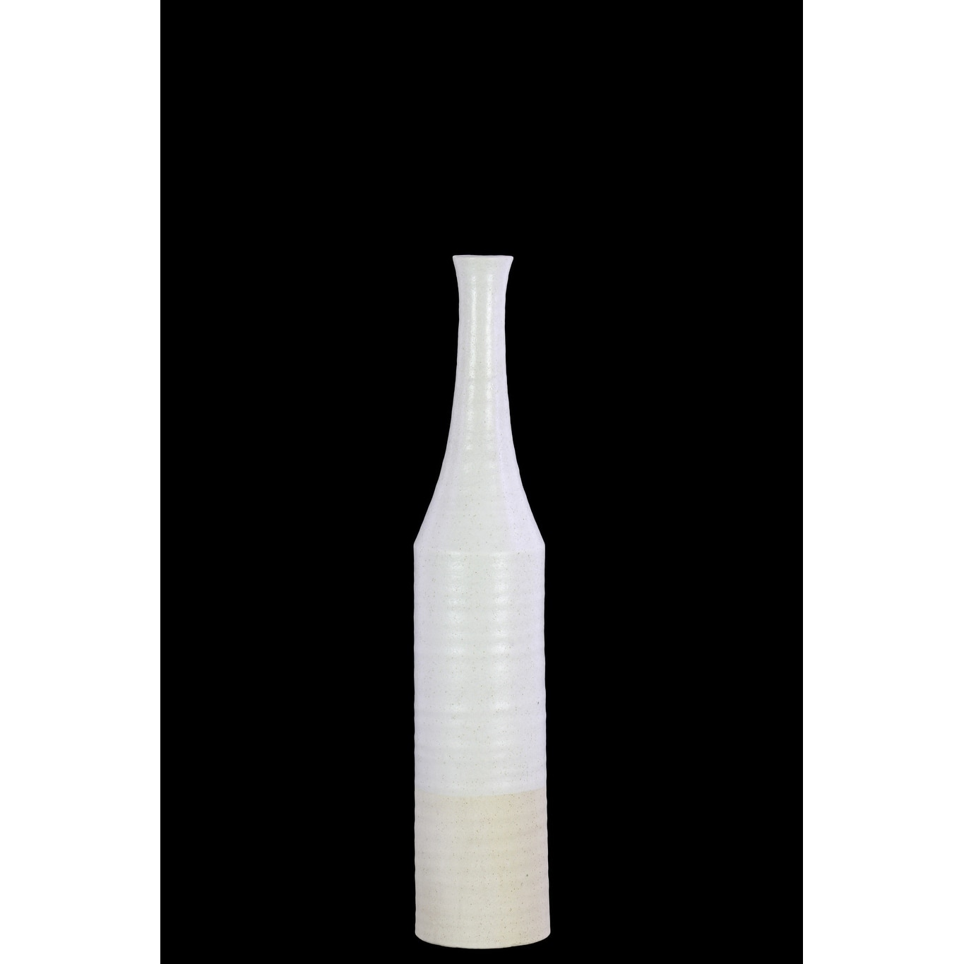 Silver//White Urban Trends 46319 Ceramic Bottle Vase with Narrow Mouth