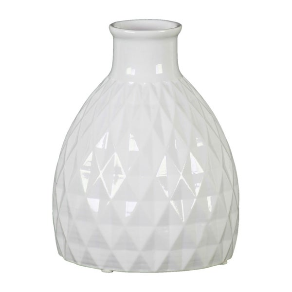 Urban Trends Ceramic Bellied Round Vase with Short Neck, Embossed Diamond Design Body and Tapered Bottom in Gloss Finish - White