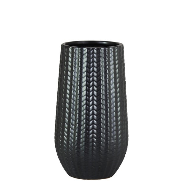 UTC11438: Stoneware Cylindrical Vase with Engraved Lattice Zigzag Design Body and Tapered Bottom SM Matte Finish Black