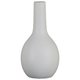 UTC53034: Ceramic Bottle Vase with Long Neck, Ribbed Design Body and Tapered Bottom LG Matte Finish White