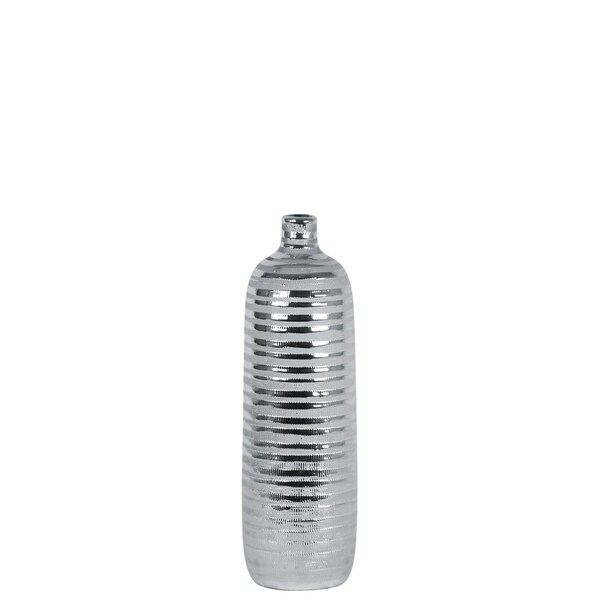 UTC46516: Ceramic Round Vase with Narrow and Short Neck, Rims and Combed Design Body SM Coated Finish Silver