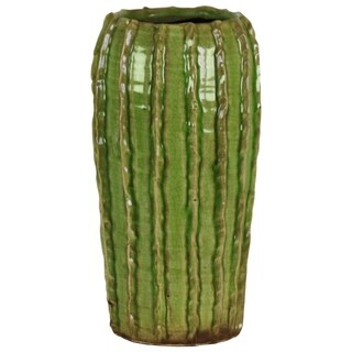 UTC51609: Ceramic Tall Round Vase with Stripes Patter Design Body and Tapered Bottom LG Gloss Finish Green